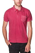 Pique Polo Short Sleeve Washed Slub NEW Mens PX Red with Pocket.