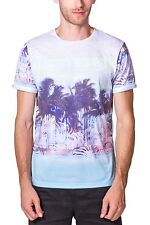 T-shirt Sublimation Print Short Sleeve Crew Neck NEW Mens White Blue  PX