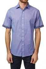 Shirt Short Sleeve Button Down Contrast Roll Up Sleeves  NEW Mens Blue Navy  PX