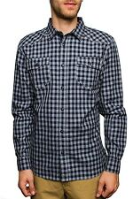 Shirt Long Sleeve Plaid Button Down NEW Mens Blue Navy PX
