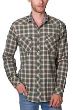 Shirt Plaid Long Sleeve Button Down Two Pocket NEW Mens Green PX