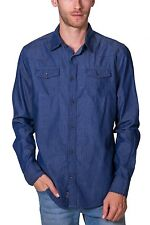 Shirt All Over Print Long Sleeve Button Down NEW Mens Blue Navy  PX