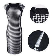 Womens Elegant Houndstooth Sleeveless Bodycon Cocktail Pencil Ladies Dress