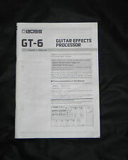 Boss GT-6 Factory Hand Manual For Guitar Effects Processor Pedal GT6