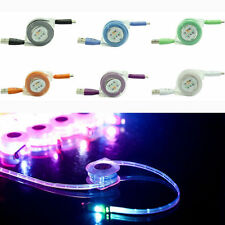 For iphone,ipad Retractable LED Light USB Micro Charger Changing Data Sync Cable