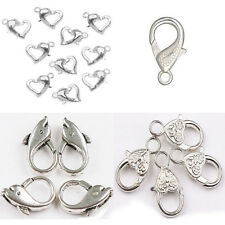 5-50pcs Antique Silver Heart Lobster Clasps For Bracelet Necklace Jewelry Making
