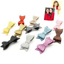 Baby Girl Hairbow Hairpins Fashion Glitter Leather Bow Hair Clips Headwear  WF
