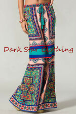 Blue & Pink Floral Palazzo Pants /Vintage Print/ Bohemian Wide Leg Flare /S or M