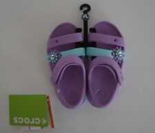 New with Tags Crocs Keeley Petal Charm Sandals Iris Ice Blue Toddler Size 9