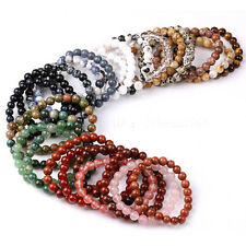 Handmade 10mm Natural Gemstone Round Beads Stretchy Bracelet Healing jewelry