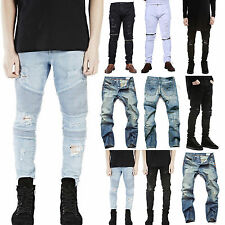 Mens Designed Pleated Straight Slim Fit Jeans Trousers Casual Skinny Denim Pants