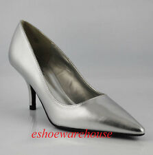 Mid Heel Awesome Hot Pointy Toe Pumps Silver Metallic