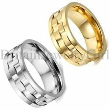 9MM Mens Wide Stainless Steel Rotatable Wedding Anniversary Ring Band Size 7-13