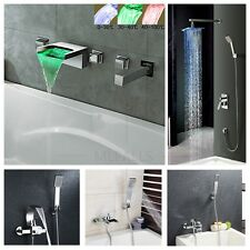 Wall Mounted Waterfall Bathroom Tub Mixer Tap With Hand Shower / Shower Faucet