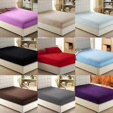 """Sale New 1-Piece Fitted Sheet (Queen/King)100%Cotton 1000TC Solid 20""""Deep Pocket"""