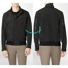NWT CALVIN KLEIN MENS FAUX LEATHER TRIM BOMBER JACKET BLACK SIZE MEDIUM