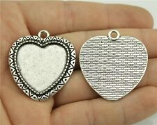 15pcs fit 25mm Cameo Cabochon Antique Bronze or Silver Heart Sharp Base Setting