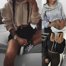 New Womens Long Sleeve Crop Tops Pullover Hooded Sweatshirt Cropped Hoodie GN