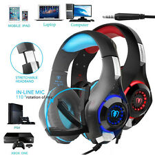 For PC Cell Phone PS4 Gaming Headset Earphone With Mic 3.5mm Stereo Over-Ear LED