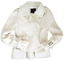 Alpha Industries Designer Womens White Cropped Wool Cashmere PeaCoat XS S M L XL