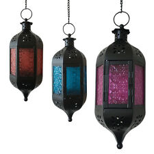 Glass Metal Moroccan Delight Garden Candle Holder Table/ Hanging Lantern