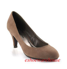 Round Toe Cutie Comfy Mid Heel Pumps Shoes Drk Taupe Su