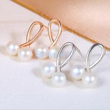 New fashion Natural Pearl Earrings with 925 Silver jewelry pearls Stud Earrings