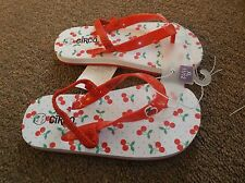 Girls Circo Kami Flip Flops White/ Red Cherrys Size XL 11-12 or S 5-6 NEW