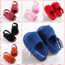 Newborn Baby toddler double Tassels sandals Soft Sole Crib prewalker 3size #QTBH