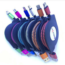 1M Braided Retractable Micro USB Data Sync Charger Cable For Samsung Galaxy Lot