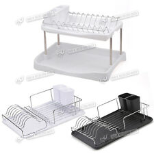 Kitchen Dish Drainer Metal Chrome Wire Dinner Plates Rack Stand Holder UK STOCK