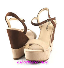 Nude Blush Brown Faux Suede Soo Sexy 2 Tone Trend Wedge Platform Sandals