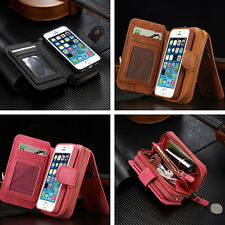 For iPhone&Samsung Grade PU Purse Zipper Wallet Case Cover Card Cash Holder New
