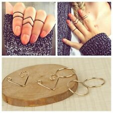 New 5Pcs/Set Punk Women Black Gold Silver Above Knuckle Ring Band Midi Rings
