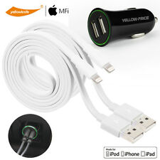 2 x Certified Lightning Cable Fast Sync USB Data Dual Port Car charger Portable