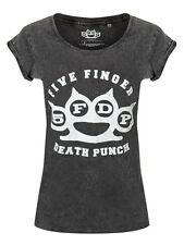 Five Finger Death Punch Knuckleduster Women's Black 5FDP Acid Wash T-shirt