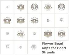 Solid 925 Sterling Silver Flower Pearl Strand Bead End Caps Anti-Tarnish Finding