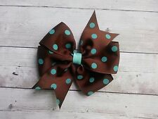 "Brown with Aqua Blue Dots Polka Dot Hair Bow - 4"" Bow - Clip or Barrette"