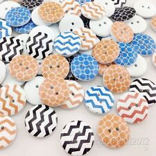 New 10/50/100/500pc European Style Waves Wood Buttons 20mm Sewing Mix W186