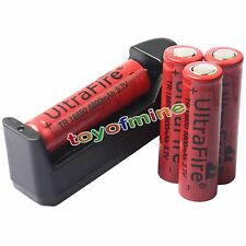 4pc x 18650 UF Li-ion 3.7V 6800mAh Rechargeable Battery for Flashlight + Charger