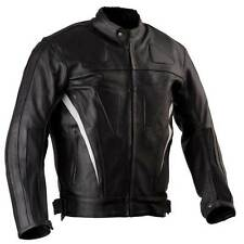 Mens Leather Motorcycle Jacket, Biker Jacket- Stretch panels, vents and armour S