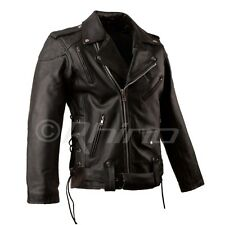 Mens Leather Motorcycle Jacket Brando Classic Biker Style Jacket with removable