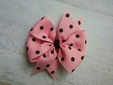 "Pink with Black Dots Polka Dot Hair Bow - 4"" Bow - Clip or Barrette"