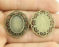12pcs fit 18*25mm Cameo Cabochon Bronze or Silver Flower Oval Base Setting