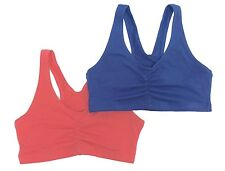 New! Hanes 2-Pack Cotton Racerback Sports Wire Free Bra S,M,XL,2XL #HC72