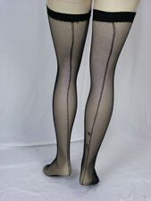 Fishnet Thigh High Stockings with Back seam and band Plus size 14 to 20