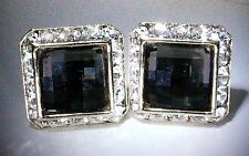 JET (BLACK) CHESSBOARD SQUARE CUFFLINKS CUSTOM MADE WITH SWAROVSKI CRYSTALS