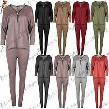 Ladies Cuffed Jogging Bottom Loungewear Womens Lagenlook High Low Top Tracksuit