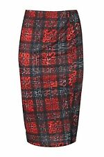 Ladies Elastic Waist Band Tartan Leopard Womens Bodycon Pencil Tube Midi Skirt