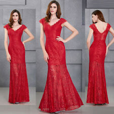 RED V-Neck Lace WOMENS Ball Gown Evening Prom Party Dress Wedding Bridal Pageant
